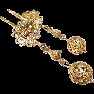 10k Gold Filigree Cannetille Dangle Earrings