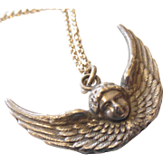 Antique Sterling Winged Cherub Pendant Necklace (double sided)
