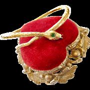 Antique 18k Gold Emerald Diamond Snake Bangle Bracelet
