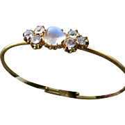 Gorgeous Antique 15k Moonstone and White Spinel or White Topaz Bangle