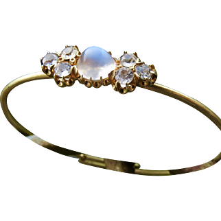 Gorgeous Antique 15k Moonstone and White Sapphire Bangle