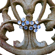 Antique 9k 9CT Moonstone Cluster Earrings - Fancy Crown Settings!