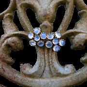 Antique 9k 9CT Moonstone Cluster Earrings - Fancy Crown Settings!
