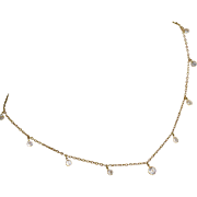14k Gold Fringe Necklace with Crystal CZ Dangles
