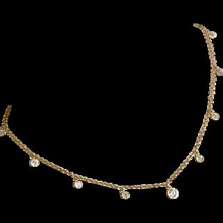 14k Gold Fringe Necklace with Crystal CZ Dangles