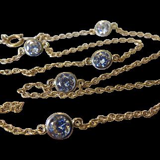 """14k Gold Faux Diamond CZ Station Necklace 18""""- Diamonds By The Yard Style!"""