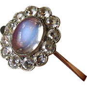 Antique 9K 9CT & Silver Moonstone Halo Ring
