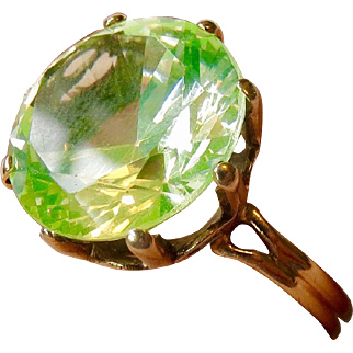 14k Large Glowing Vaseline Glass Spinel Ring