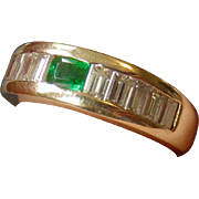 14k Custom Made Emerald and 1.25ct Diamond Baguette Ring with $2,300 Appraisal