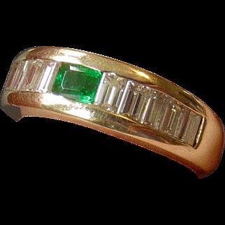 14k Custom Made Emerald and 1.25ct Diamond Baguette Ring
