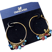 NOS Swarovski Gold Filled Hoop Earrings With Removable Crystal Charms!