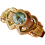 10k Gold Blue Zircon Sweetheart Heart Ring