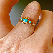 9K Gold Sleeping Beauty Turquoise Ring - 9CT (375)