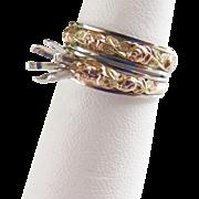 NOS 14k Jabel Rose Wedding Set - Engagement Band and Eternity band - Size 6.5 - Hand made - Rose, Green White gold!