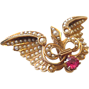 Antique 14k Gold Winged Fleur De Lis Seed Pearl and Ruby Watch Pin Brooch - 7 Grams!