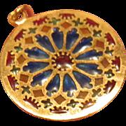 18k Gold Plique a Jour Stained Glass Window Enamel Pendant or Charm