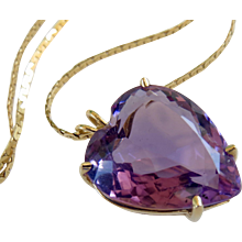 14k Gold Large Amethyst Heart Pendant and Chain - (11+ Carats)