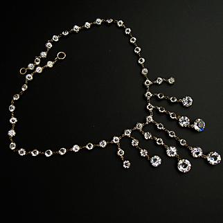 Edwardian Sterling Paste Drop Necklace