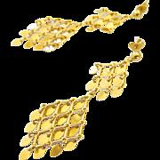 14k Gold Long Dangle Gypsy Mirror Earrings