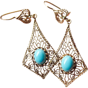 14k Gold Filigree Long Turquoise Dangle Earrings