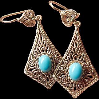 14k Gold Filigree Long Turquoise Dangle Earrings