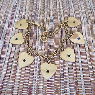 Winard Gold Filled 'DEAREST' Jewel Heart Charm Bracelet