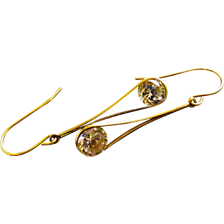 14k Gold 3 Carat CZ Drop Earrings