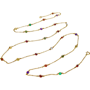 "10k Gold 39.5"" Long Multi-Gemstone Station Necklace"