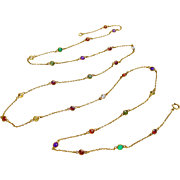 "10k Gold 39.5"" Long Multi-Gemstone Station Necklace"
