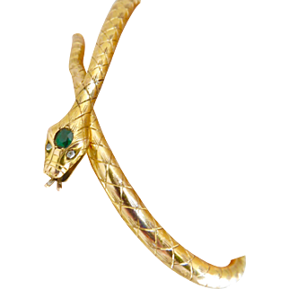 Antique 18k Gold Emerald Diamond Snake Bangle Bracelet