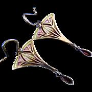 Sterling Silver Enamel Art Nouveau Style Designer Earrings Signed PPC for Pat Cheney