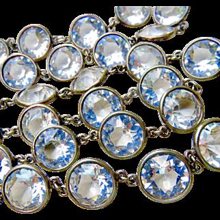 Rare Antique Sterling Silver Large Bezel Set Paste Long Necklace - Gorgeous Large Stones!