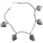 Art Deco Sterling Silver Puffy Heart Charm Bracelet - All Original