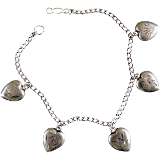 Sterling Silver Puffy Heart Charm Bracelet - All Original