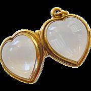 14k Gold Rock Crystal Heart Picture Memento Locket Charm