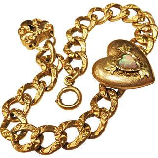 Rare Antique Gold Filled Sweetheart Locket Repousse Bracelet