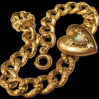 Rare Antique Gold Filled Sweetheart Locket Repousse Bracelet