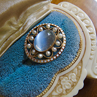 14k Gold Antique Moonstone Seed Pearl and Enamel Brooch