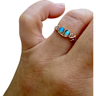 Antique Victorian 9ct Rose Gold Double Opal and Seed Pearl Ring Sz 6