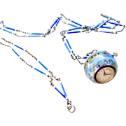 Rare Fabulous Sterling Enamel Bucherer Ball Pendant Watch & Matching Enamel Watch Chain