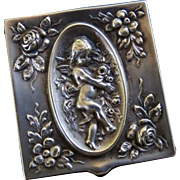Antique Sterling Silver Winged Cherub and Florals Stamp Box