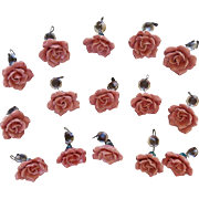 Wonderful Set of Hand Made Italian Pink  Rose and Crystal Chandelier Drops