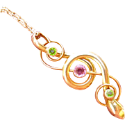 10k Gold Art Nouveau Snake Pendant with Pink and Green Paste Necklace