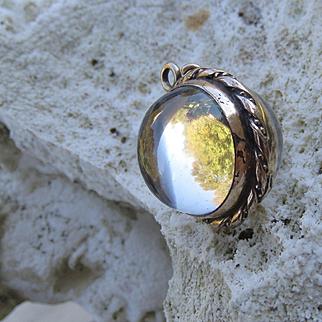Antique Pool of light Rock Quart Crystal Memento Locket