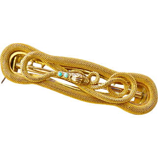 Art Nouveau Snake Sash Pin or Buckle with Turquoise Cabochons