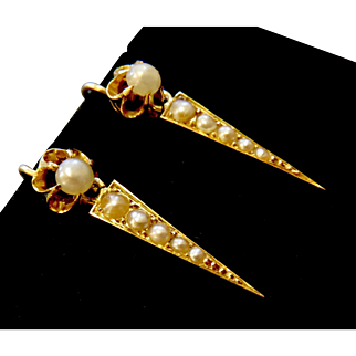 Lovely Antique 14k and 10k Gold and Seed Pearl Drop Earrings
