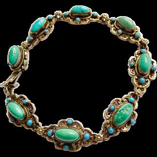 Antique Austro-Hungarian Sterling Silver Turquoise Bracelet