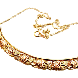 14k Gold Jabel Rose Eternity Necklace - Yellow, Rose and Green Gold - Rare find!