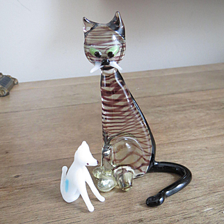 West German Art Glass Striped Cat and Little White Doggy