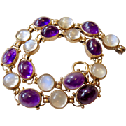 14k Gold Moonstone and Amethyst Bracelet 8""